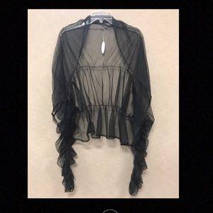 Long Sleeve Black Rouched Tulle Shrug